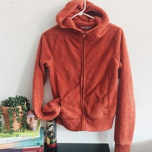 Orange Fuzzy Fleece Teddy Zip Up Hoodie